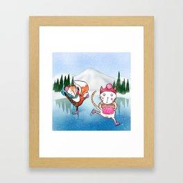 Fox and Cat go ice skating Framed Art Print
