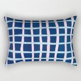 Pink and Blue Grid Rectangular Pillow