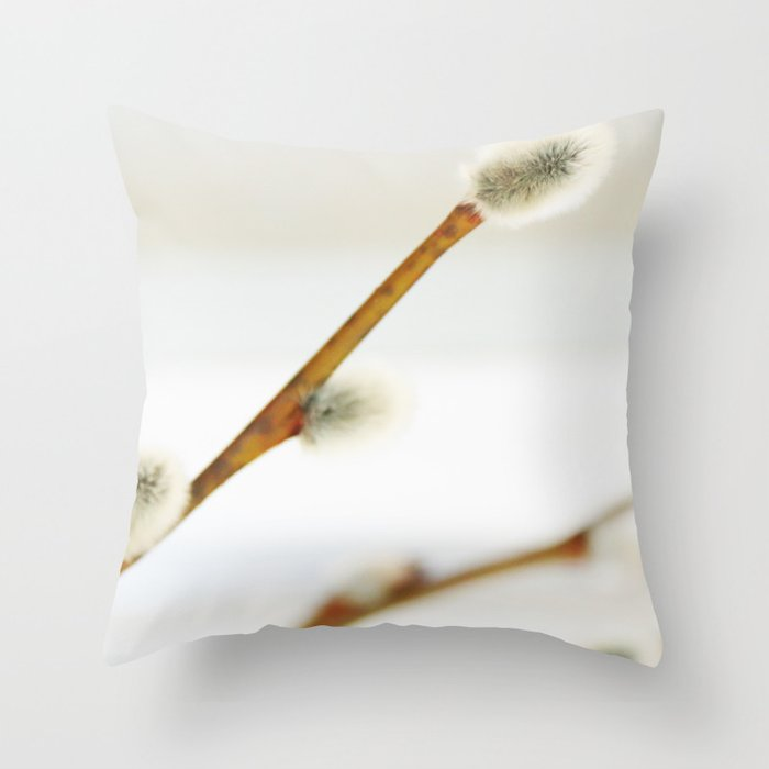 Willow branch with catkins Throw Pillow