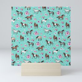 Hand drawn horses, Flower horses, Floral Pattern, Aqua Blue Mini Art Print