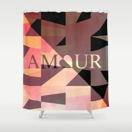 Amour Love Heart Cubic Design Shower Curtain