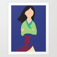 mulan Art Prints featuring Mulan by Adrian Mentus