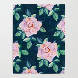 Simple Pink Rose Oil Painting Pattern Poster