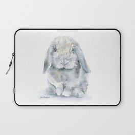 Mini Lop Gray Rabbit Watercolor Painting Laptop Sleeve