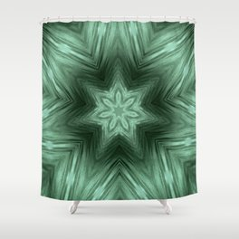 Green Star Flower Blossom Metallic Color #Pattern #Background Shower Curtain