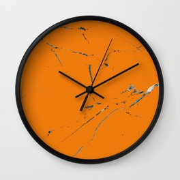 bold orange marble texture Wall Clock