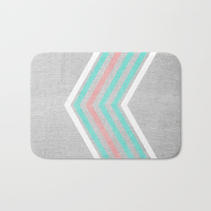 Teal, Pink and White Chevron on Silver Grey Wood Bath Mat