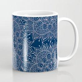 Modern navy blue blush pink watercolor floral mandala Coffee Mug