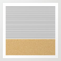 Minimal Gold Glitter Stripes Art Print