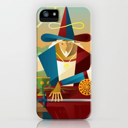 magician juggler with cup, wooden staff, sword and gold tarot card iPhone Case