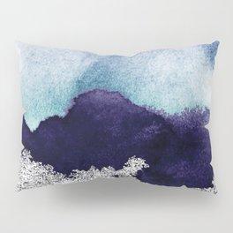 Silver foil on blue indigo paint Pillow Sham