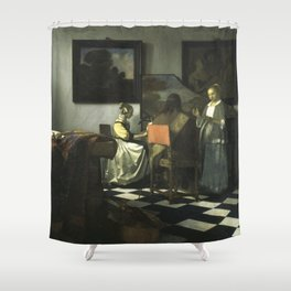 Stolen Art - The Concert by Johannes Vermeer Shower Curtain