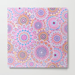 Mandala Maze Pink Metal Print