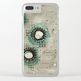 Sepia Circles Right Clear iPhone Case