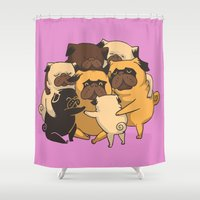 pugs Shower Curtains featuring Pugs Group Hug by Huebucket
