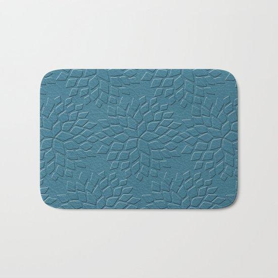 Leather Look Petal Pattern - Niagara Color Bath Mat