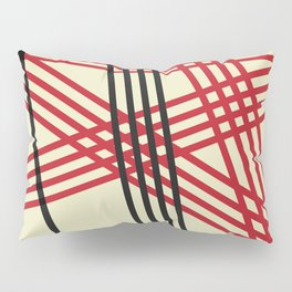 Red Black Lines Pillow Sham