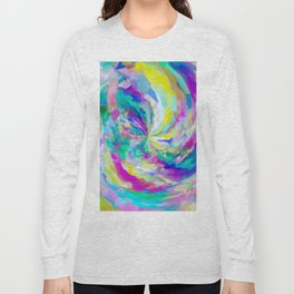 colorful splash painting abstract in pink green blue yellow Long Sleeve T-shirt