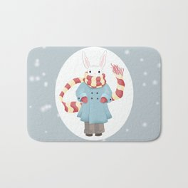 Bunny Brother Out On A Winter Day Bath Mat