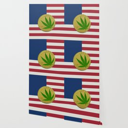 In Weed We Trust - Coin on USA flag Wallpaper