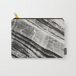 Abstract Marble - Black & Cream Carry-All Pouch