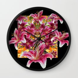 ORIENTAL STAR GAZER  LILIES FLORAL MODERN BLACK ART Wall Clock