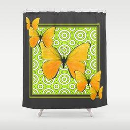 Gray Green Pattern  Yellow Butterflies Art Shower Curtain