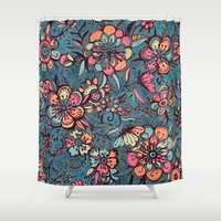 spring Shower Curtains featuring Sweet Spring Floral - melon pink, butterscotch & teal by micklyn