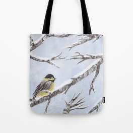 Bird in Snow Tote Bag