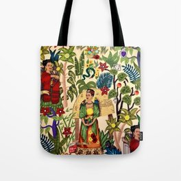 Frida's Garden, Casa Azul Lush Greenery Frida Kahlo Landscape Painting Tote Bag