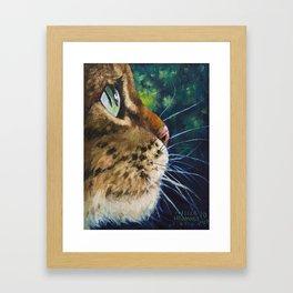 Cute Cat Illustration, Kid Room Wall Art Decor, Original Oil Drawing Framed Art Print