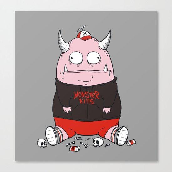 Pink Monster Kills Canvas Print