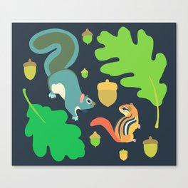 Gray Squirrel + Chipmunk + White Oak Canvas Print