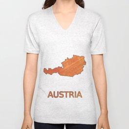 Austria map outline Sunny orange clouded watercolor Unisex V-Neck
