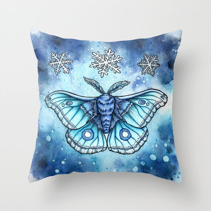 Moth of the First Frost Throw Pillow