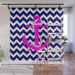 Blue White Chevron Pink Anchor Wall Mural