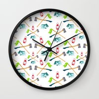 camping Wall Clocks featuring Camping by Whimsy Milieu
