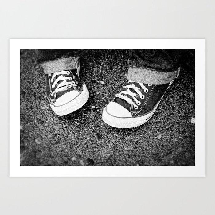 a8e22ec5760c1 Chuck Taylor Converse Shoes Black and White Art Print by danielledenham