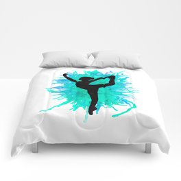 Watercolour Dancer Green Comforters