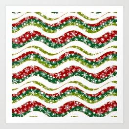 Christmas waves and snowflakes Art Print