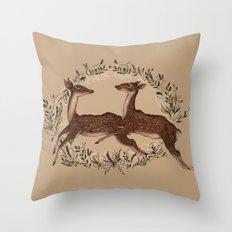 Jumping Deer Throw Pillow