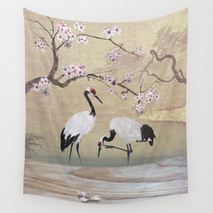Cranes Under Cherry Tree Wall Tapestry