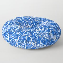 Chinese Symbols in Blue Porcelain Floor Pillow