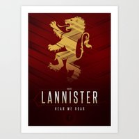 tyrion Art Prints featuring House Lannister Sigil III (house words) by P3RF3KT