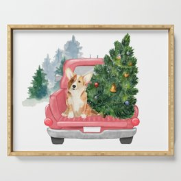 Driving Home For Christmas - Corgi On Red Xmas Car  Serving Tray