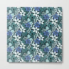 Tropical Floral Aqua Metal Print