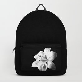 White Lily Black Background Backpack