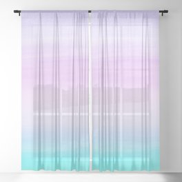 Touching Unicorn Girls Watercolor Abstract #1 #painting #decor #art #society6 Sheer Curtain