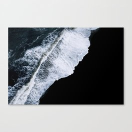 Waves crashing on a black sand beach – minimalist Landscape Photography Canvas Print
