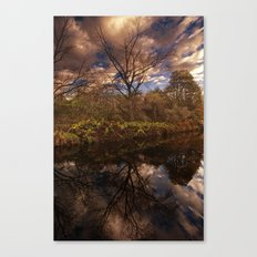 Canal side Reflections Canvas Print